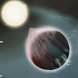 Artist's conception of tidal disruption of gas giant planet.